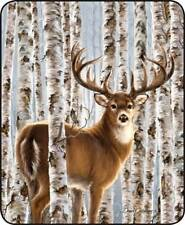 Queen Size Birch Whitetail Snow Deer Buck Hunt Faux Fur Blanket Super Soft Plush