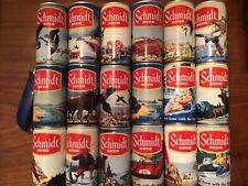 New listing Set Of 18 Unique Yellow Band Schmidt Beer Scene Cans #12 ds