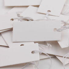 100Pcs White Strung Price Ticket Tags Labels Retail Clothing Gift Sticker 4x2cm