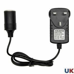 240V Mains Plug to 12V Socket Adapter Converter Car Cigarette Lighter UK NEW