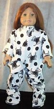 """Doll Clothes Made 2 Fit American Girl 18"""" inch Pajamas Footed Scotty Dogs Black"""