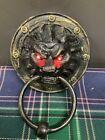 Style Brass Head Door Knocker, Tiwel Ring 3-1/2'' Wight Light On Eyes