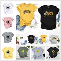 Women T-shirt Sunflower Print Summer Short Sleeve Tops Cotton Blend Tops Tees