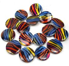 25mm Rainbow Ocean Ripples Mother Of Pearl Disc Beads 16""
