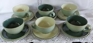 Set of six Denby Calm (Light and Dark Green) Cups and Saucers