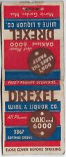 VINTAGE MATCHBOOK DREXEL WINE & LIQUOR CO CHICAGO