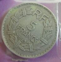 5 francs Lavrillier Alu 1949 B : TTB : pièce de monnaie française N57
