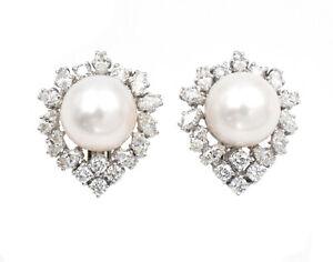 Large 14.5 mm South Sea Pearl & 5.92Ct Diamond Earrings, Platinum & 18K Gold