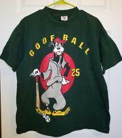 "Vintage Mickey&Co. Goofy ""Goofball"" Baseball Green TShirt Single Stitch One Size"