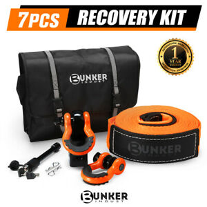 BUNKER INDUST 4WD Recovery Kit Snatch Strap Hitch Receiver Bow Shackles Off Road