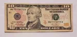 Ten Dollar Bill 2013 Special Fancy Serial Number 7777 8775 Quad 7