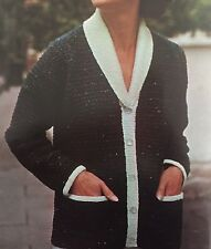 F-VINTAGE Knitting Pattern-DK Tweed LADY'S Casual Cappotto/Cardigan