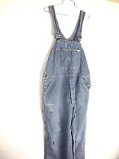 Vintage Pinstripe Lee Overalls Distressed Paint Size 40 USA Made Denim 60s