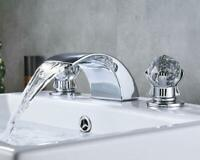 Chrome Waterfall Bathroom Basin Faucet Dual Crystal Handle Mixer Tap Widespread