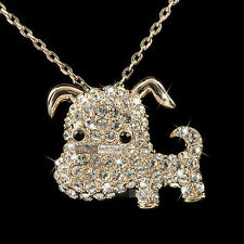 pendant necklace 18k rose gold made with SWAROVSKI crystal cute dog doggy