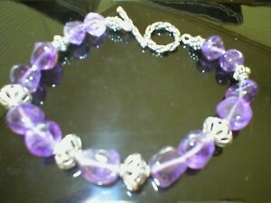 Sterling Silver Beads And Amethyst beads Bracelet