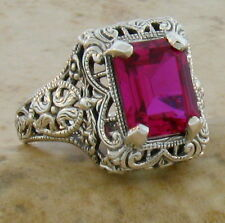 5 Ct LAB RUBY ANTIQUE FILIGREE DESIGN .925 SILVER RING SIZE 5.75,            #15