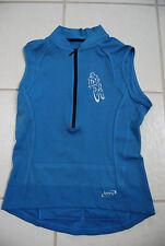 Blue TERRY Bicycling Stretch Sleeveless Team Estrogen Neck Zip Shirt Lady Medium