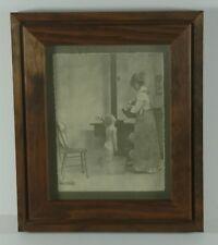 Vintage Rolland Hendrickson Framed Artwork Mother Bathing Child Rare Wood Stove