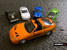 5x Fast & Furious Toy Cars Orange White Supra Green Eclipse Dodge Charger 1/24