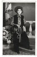 Vintage photo little boy in cowboy costume toy gun costumed children *6704F