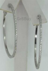 EARRINGS: WHITE RHODIUM PAVE CZ HOOPS