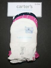 New Carter's Girls 3 Pack Baby Mittens 0-3 months NWT 100% Cotton Owl Purple