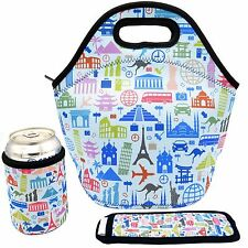 Neoprene Lunch Bag - Insulated Lunch Tote Bags (World Travel Design)