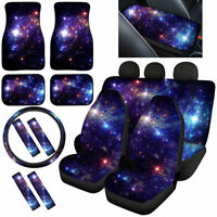 Blue Galaxy Car Seat Covers Full Set with Steering Wheel,Seatbetl,Armrest Covers