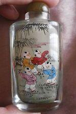"""Tabatière / boîte à tabac en verre peint miniatures """" 4 enfants """" - Asie Chine"""
