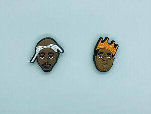 Shoe Charms for Crocs Set of 2 Tupac Biggie Hip Hop Clogs Bracelet | Gift