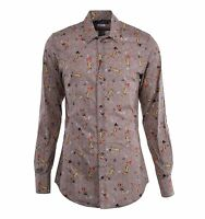 DOLCE & GABBANA GOLD Tarot Printed Cotton Shirt Beige 04822