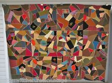 Antique Hand Pieced Multi-Color Silk Satin Wool Crazy Quilt-Walcott Co-New York