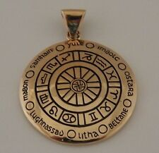 CROSS QUARTERS Sabbats ZODIAC WHEEL of THE YEAR Pendant Gold Tone Bronze Amulet