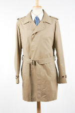 Mens THEORY Trench Coat XL in Khaki Tan Hip Belted Cotton-PU Waterproof Raincoat