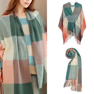Women Check Long Shawl Scarf Tassel Tartan Warm Lattice Knitted Scarf Ladies