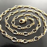 FSA150 18K YELLOW GOLD GF SOLID FINE LINK PENDANT LONG NECKLACE CHAIN 89CM