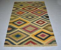 Handmade Geometric Multi Color Cotton Rug 4x6 Feet Traditional Area Rug