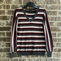Worthington Womens V-neck Long Sleeves Sweater Pullover Striped Size M