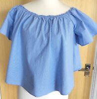 New Look Ladies Bardot Top Blouse 10 Blue Stripy Off the Shoulder Swing Holiday