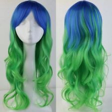 Colorful Lovely Anime Straight Wig Heat Resistant Party Pink Blue Purple Ombre c