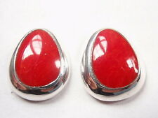 Red Coral with Soft Corners 925 Sterling Silver Stud Earrings