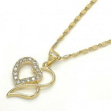 New 9ct Gold GF Entwined Heart Pendant and Chain Necklace Cubic Zirconia JS23