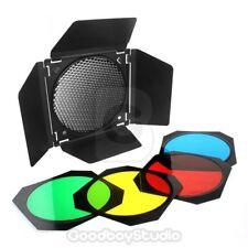 Godox BD-04 Barn Door + Honeycomb Grid + 4 Color Gel Filter for Studio Flash UK