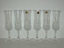 """Set Lot 6 Cristal Cris D'Arques LONGCHAMP 8 1/8"""" Crystal Champagne Flute Goblets"""