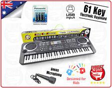 USB 61 Key Keyboard Electric Digital Piano Kids Beginner 2Way Speaker System MP3