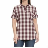 The North Face Women's Tanami Short Sleeve Shirt Red Buffalo Plaid Size L NWT