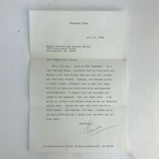 Vintage 1983 Frances Lear Wife Of Norman Lear Author Signed Autographed Letter