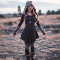 Women Gothic Punk Hooded Dress Retro Streetwear Long Sleeve Pleated Mini Dress H