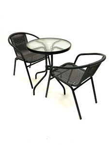 Black Rattan Furniture, Rattan Garden Furniture Sets, 2 Chairs & 1 Table Set
